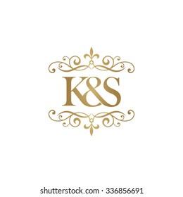K&S Initial logo. Ornament ampersand monogram golden logo