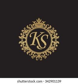 KS initial luxury ornament monogram logo