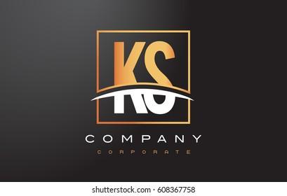 KS K S Golden Letter Logo Design with Swoosh and Rectangle Square Box Vector Design.