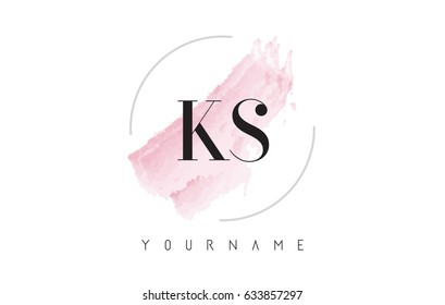 KS K S Watercolor Letter Logo Design with Circular Shape and Pastel Pink Brush.