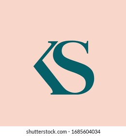 KS monogram logo. Letter k and letter s typographic icon.Lettering sign.Serif uppercase alphabet initials isolated on light pink fund.Modern,elegant,luxury style characters for beauty company brand.