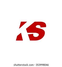 KS negative space letter logo red
