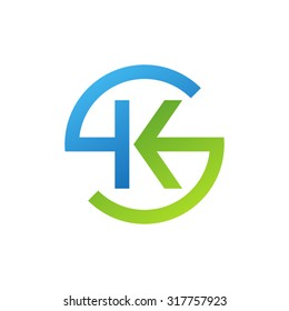 KS SK initial company circle S logo blue green