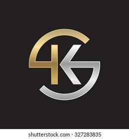 KS or SK letters, golden silver circle S shape
