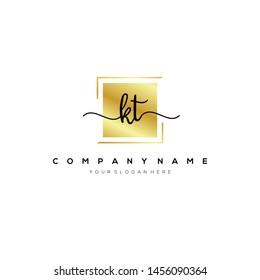 KT handwriting initial logo template vector.