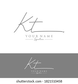 KT Initial letter handwriting and signature logo.