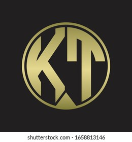 KT Logo monogram circle with piece ribbon style on gold colors