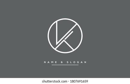 KT, TK, K, T Letters Abstract Logo Monogram