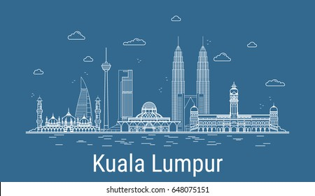 Kuala Lumpur city, Line Art Vector illustration with all famous towers. Linear Banner with Showplace, Skyscrapers and hotels. Composition of Modern buildings, Cityscape. Kuala Lumpur buildings set