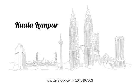 KUALA LUMPUR city vector panoramic hand drawing illustration
