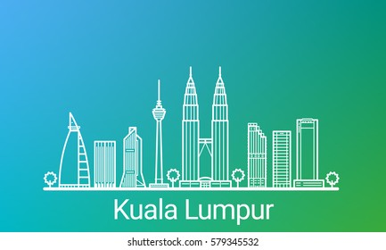Kuala Lumpur city white line on colorful background. All Kuala Lumpur buildings - customizable objects with opacity mask, so you can simple change composition and background. Line art.