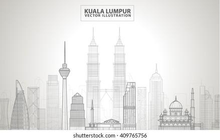 Kuala Lumpur detailed silhouette. Vector line illustration
