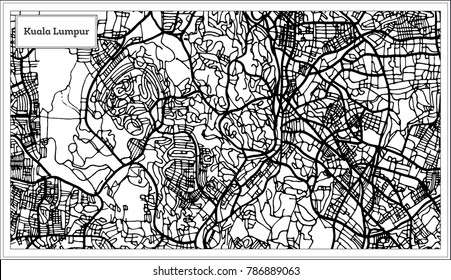 Kuala Lumpur Malaysia City Map in Black and White Color. Outline Map. Vector Illustration.