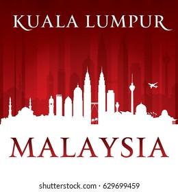 Kuala Lumpur Malaysia city skyline silhouette. Vector illustration