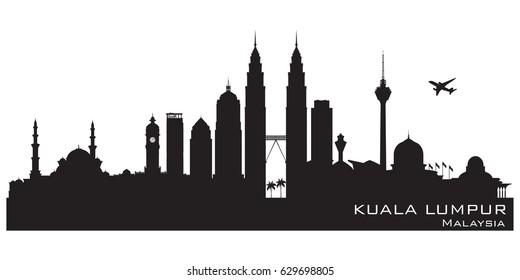 Kuala Lumpur Malaysia skyline Detailed vector silhouette