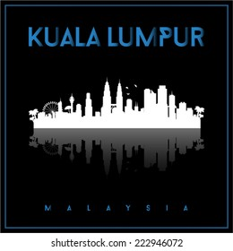 Kuala Lumpur, Malaysia skyline silhouette vector design on parliament blue and black background.