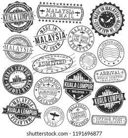 Kuala Lumpur Malaysia Stamp Vector Art Postal Passport Travel Design Set