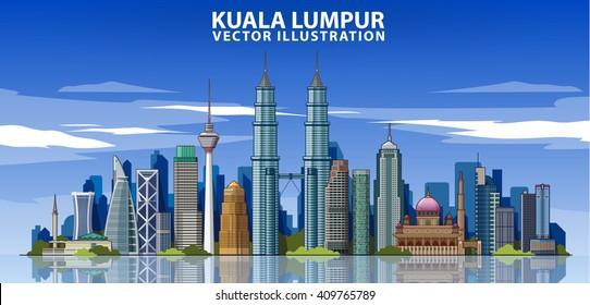 Kuala Lumpur skyline detailed silhouette. Vector illustration