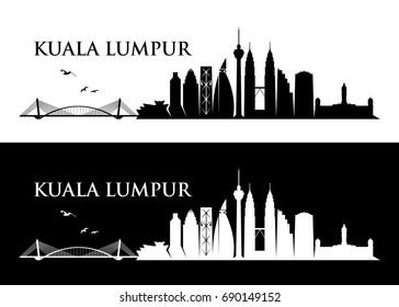Kuala Lumpur skyline - Malaysia - vector illustration
