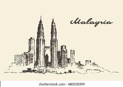 Kuala Lumpur skyline, Malaysia, vintage engraved illustration, hand drawn, sketch