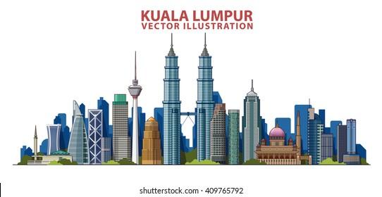 Kuala Lumpur skyline . Vector illustration