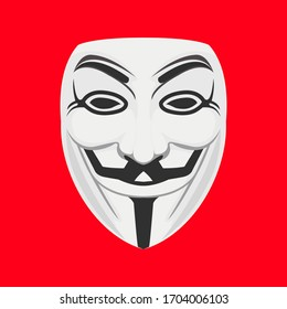 Kuantan, Pahang - April 14 2020: Guy Fawkes mask or known as anonymous protest mask illustration vector isolated red background