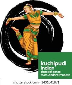kuchipudi Indian classical dance from Andhra Pradesh - Vector