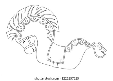 Kuda Lumping. Javanese, Indonesian traditional art cartoon vector. Coloring page for kids