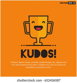 Kudos Card With Smiling Trophy Illustration In Line Art Style and Text Box Template