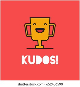 Kudos Card With Smiling Trophy Illustration In Line Art Style