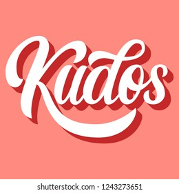 Kudos hand lettering, custom writing letters with 3d shadow on retro pink background, greeting typography, vector type design illustration.