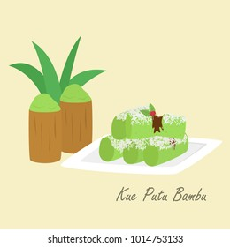 Kue Putu Bambu, Indonesian traditional cake. Indonesian traditional dessert cartoon vector