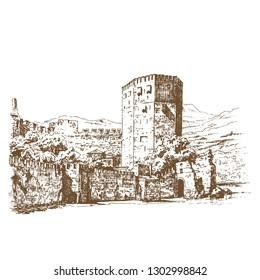 Kızıl Kule (Red Tower). Engraving