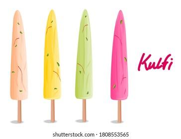 kulfi Indian Sweets or Mithai Food Vector