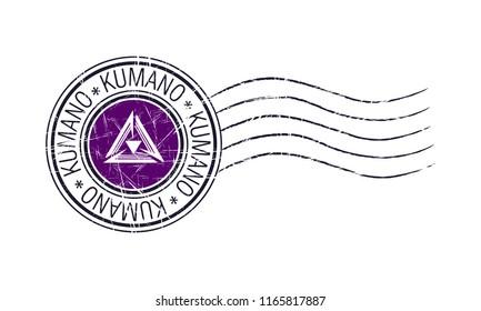 Kumano city grunge postal stamp and flag on white background