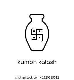 Kumbh kalash icon. Trendy modern flat linear vector Kumbh kalash icon on white background from thin line india collection, editable outline stroke vector illustration