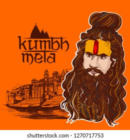 Kumbh Mela festival in india . sadhu vector illustration
