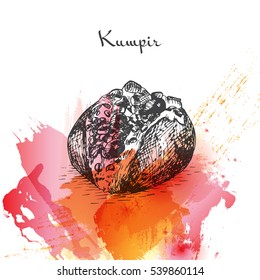 Kumpir watercolor effect illustration. Vector illustration of Turkish cuisine.