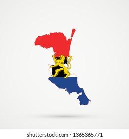 Kumykia (Dagestan) map in Benelux Union flag colors, editable vector.