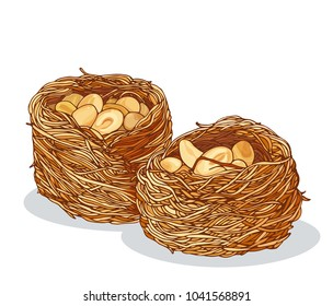 Kunafah with peanuts illustration