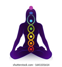 Kundalini serpent and chakras of a meditating woman, symbol for spiritual awakening, healing power and balance, celestial harmony and relaxation. Vector illustration on white.
