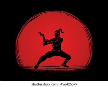 Kung fu action designed on sunset background graphic vector.