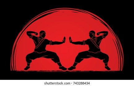 Kung fu action ready to fight designed on sunlight background graphic vector.