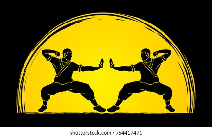 Kung fu action ready to fight designed on moonlight background graphic vector.