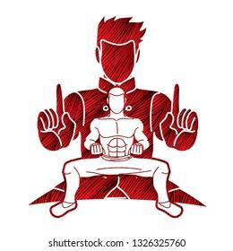 Kung Fu fighter, Martial arts action pose cartoon graphic vector