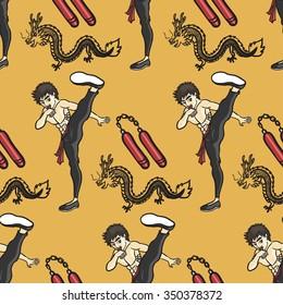 kung fu high kick seamless pattern on yellow background