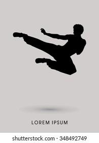 Kung fu, Karate jump kick , silhouette graphic vector.