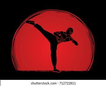 Kung fu, Karate kick designed on sunset or sunrise background graphic vector.