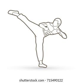 Kung fu, Karate kick outline graphic vector.