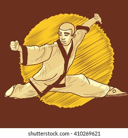 Kung Fu. A man in a fighting pose on a background of the sun. Illustration - vector.